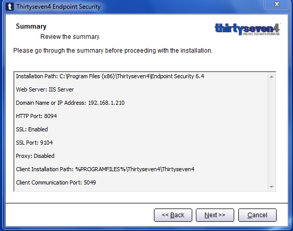 Thirtyseven4 Advanced Endpoint Security Console