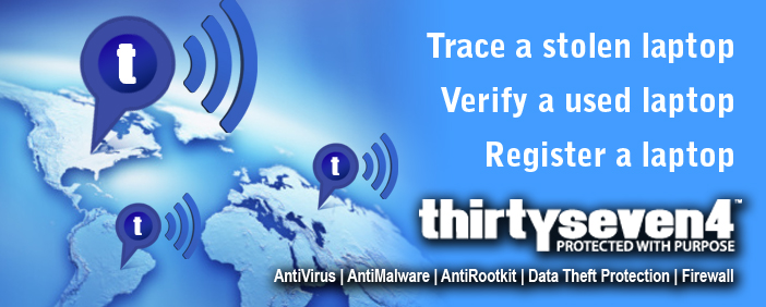 Thirtyseven4 Antivirus | AntiMalware | AntiRootkit | AntiSpyware  Laptop Tracking System